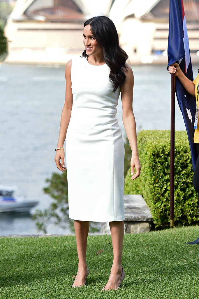 Prince Harry, Duke of Sussex and Meghan, Duchess of Sussex attend a welcome ceremony at Admiral House in Sydney by The Governor General Sir Peter Cosgrove and and Lady Cosgrove.Pictured: Meghan,Duchess of SussexRef: SPL5033591 151018 NON-EXCLUSIVEPicture by: SplashNews.comSplash News and PicturesLos Angeles: 310-821-2666New York: 212-619-2666London: 0207 644 7656Milan: +39 02 4399 8577Sydney: +61 02 9240 7700photodesk@splashnews.comWorld Rights
