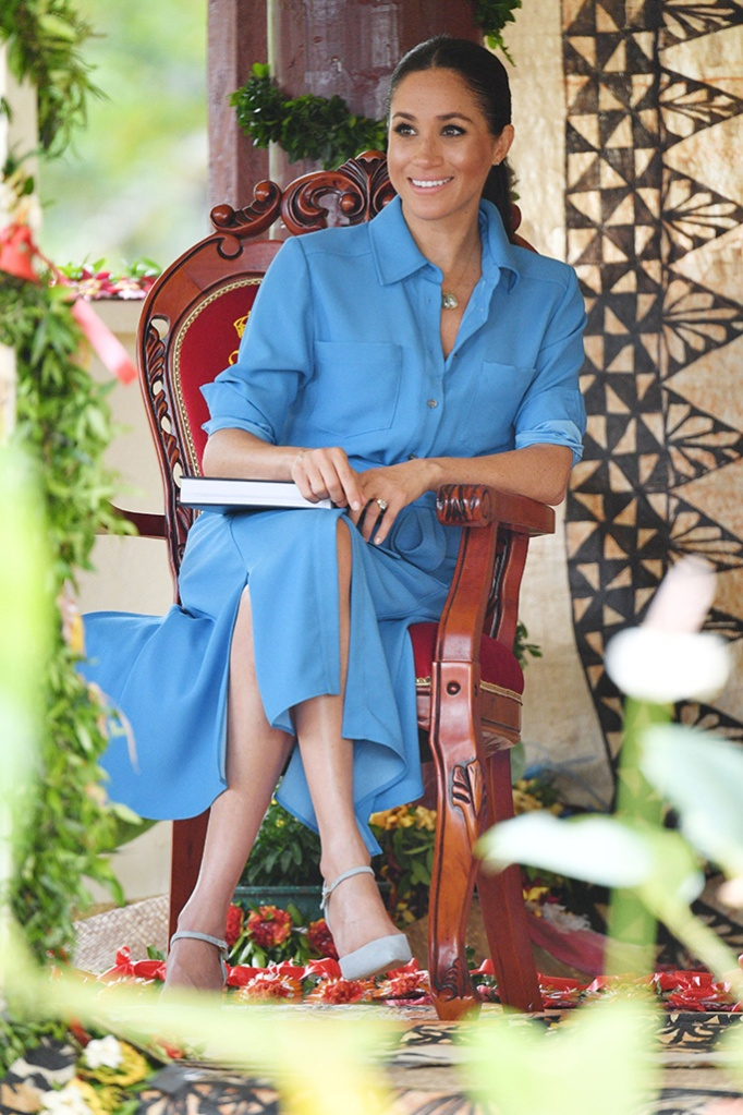 veronica beard cary blue dress, Meghan Duchess of Sussex attends the unveiling of The Queen's Commonwealth Canopy at Tupou CollegePrince Harry and Meghan Duchess of Sussex tour of Tonga - 26 Oct 2018Tupou College, which is the oldest secondary school in the Pacific, founded by a British missionary in 1866. Their Royal Highnesses will dedicate two forest reserves at the school's on-site forest, the Toloa Forest Reserve, the last remaining forest area on Tonga's main island of Tongatapu, and the Eua National Park Forest Reserve, located at the Island of Eua to The Queen's Commonwealth Canopy