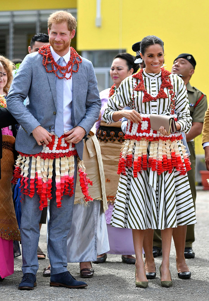 Matin Grant dress, The Duke and Duchess of Sussex visit an exhibition of Tongan handicrafts, mats and tapa cloths at the Fa'onelua Convention Centre in Nuku'alofa, Tonga, . Prince Harry and his wife Meghan are on day 11 of their 16-day tour of Australia and the South PacificBritain Royals, Nuku'alofa, Tonga - 26 Oct 2018