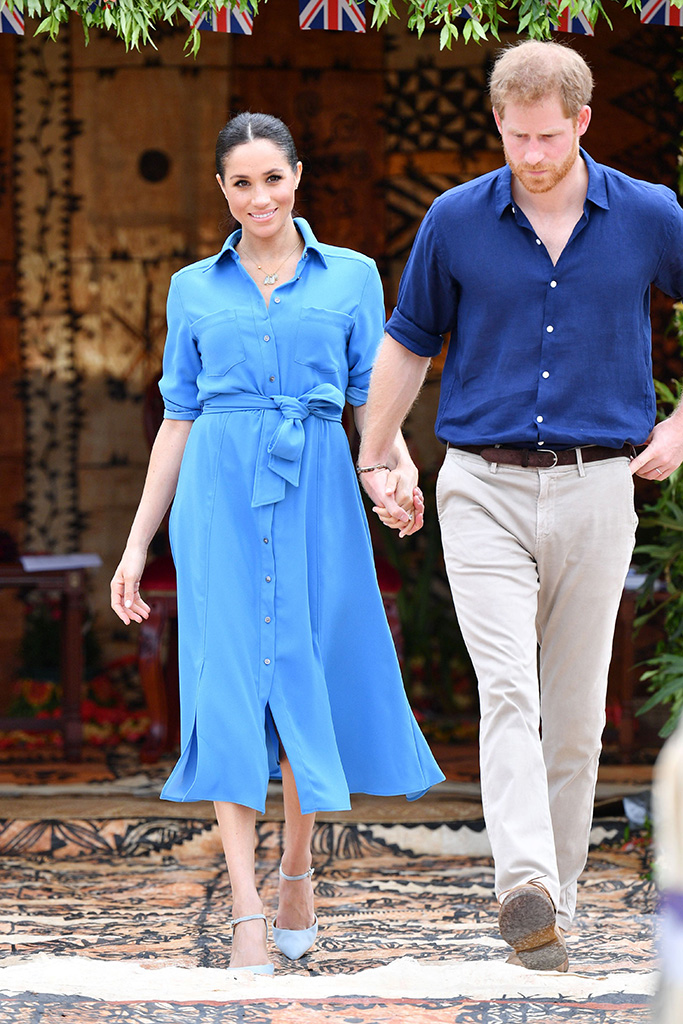 Aquazzura amandine pumps, veronica beard cary blue dress, Meghan Duchess of Sussex attends the unveiling of The Queen's Commonwealth Canopy at Tupou CollegePrince Harry and Meghan Duchess of Sussex tour of Tonga - 26 Oct 2018Tupou College, which is the oldest secondary school in the Pacific, founded by a British missionary in 1866. Their Royal Highnesses will dedicate two forest reserves at the school's on-site forest, the Toloa Forest Reserve, the last remaining forest area on Tonga's main island of Tongatapu, and the Eua National Park Forest Reserve, located at the Island of Eua to The Queen's Commonwealth Canopy