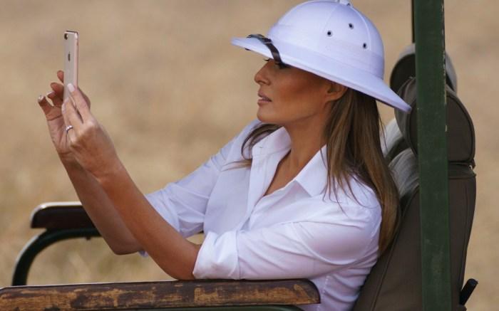 Melania Trump, safari, africa trip, colonial era hat