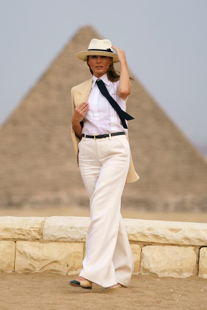 Melania Trump, pyramids, egypt, menswear, tie, hat, michael jackson, carmen sandiego, giza, africa