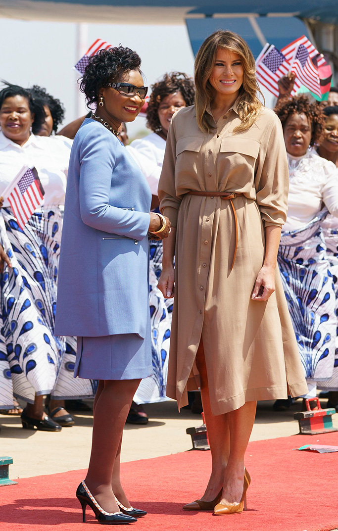Melania Trump, Gertrude Maseko. First lady Melania Trump is greeted by Malawi first lady Gertrude Maseko as she arrives at Lilongwe International Airport, in Lumbadzi, Malawi, . The first lady is visiting Africa on her first big solo international trip, aiming to make child well-being the focus of a five-day, four-country tour Melania Trump Africa, Lumbadzi, Malawi - 04 Oct 2018