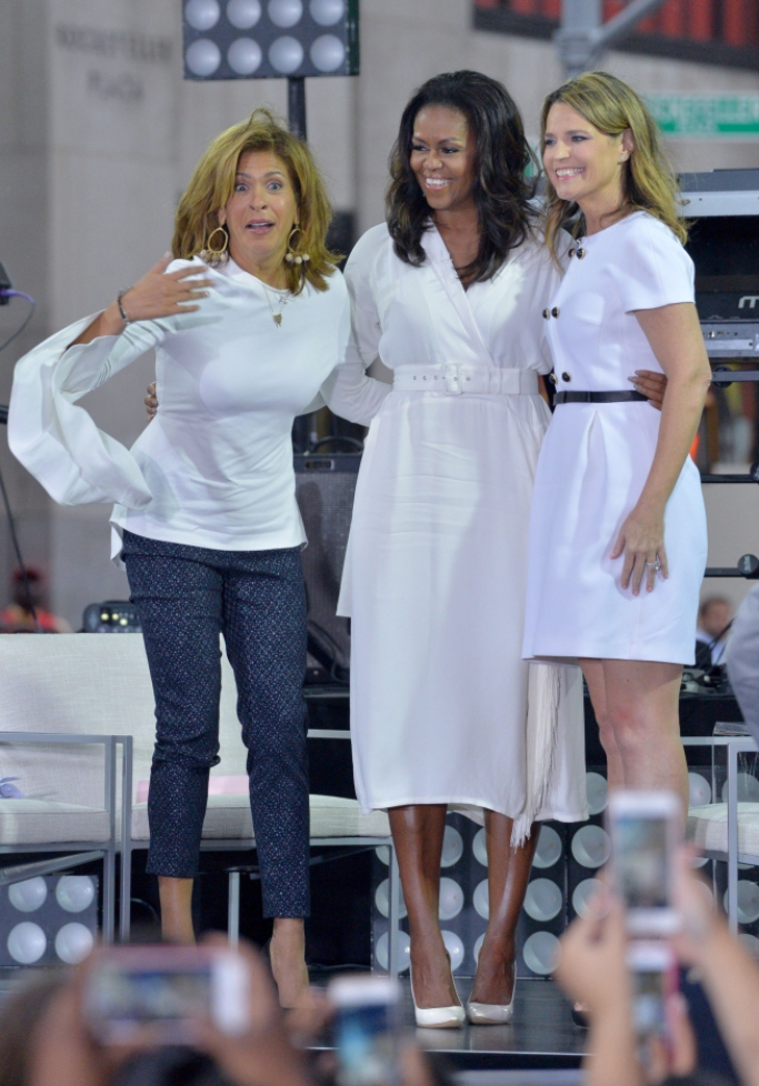 michelle obama white look, today show nbc, Savannah Guthrie, hoda kotb,