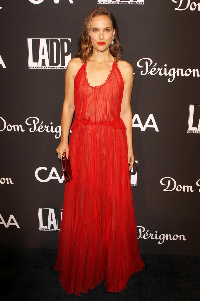 Natalie Portman, red carpet, red dress, la dance project gaga, dior