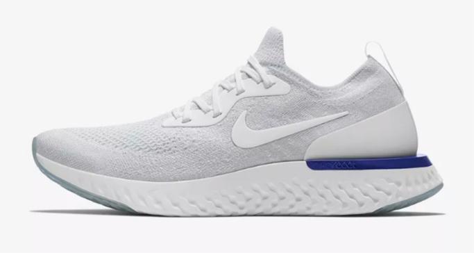 Nike Epic React Flyknit in White/Racer Blue/White.
