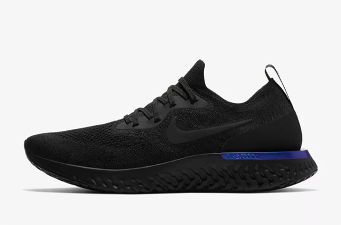 Nike Epic React Flyknit in Black/Racer Blue/Black.