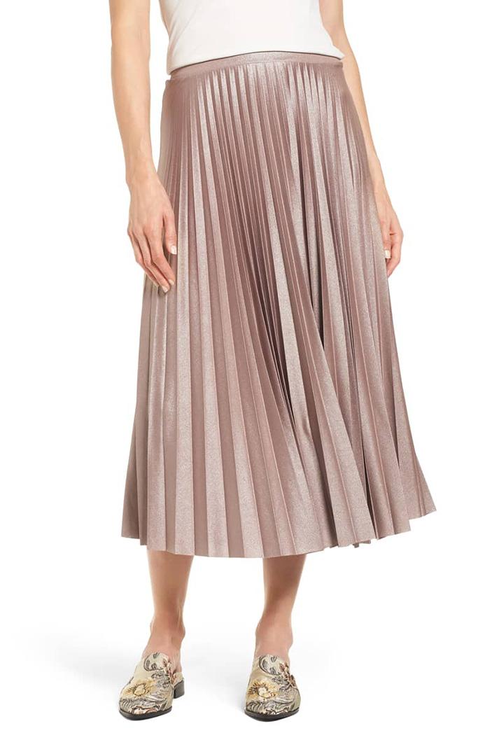 Halogen metallic pleat midi skirt.