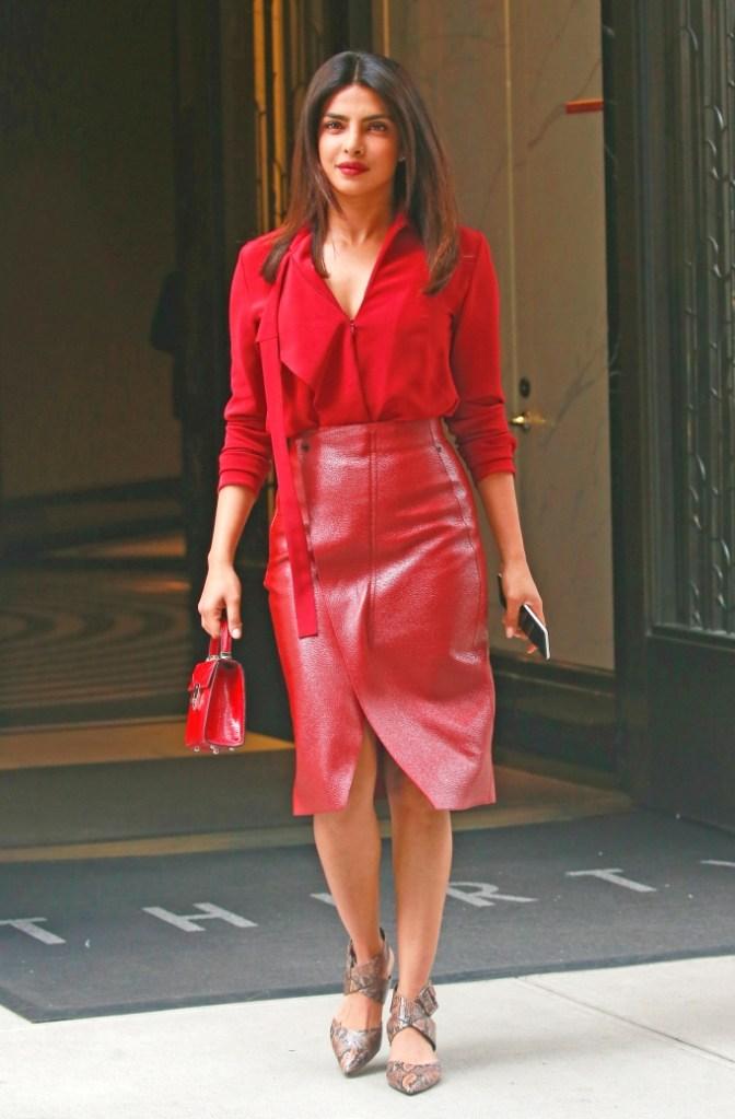Priyanka Chopra, street style, jason stalvey purse, akris skirt, blouse, celebrity style, snakeprint pumps, new york city