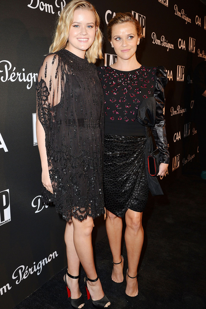 Reese Witherspoon and Ava Philippe, daughter, red carpet, twins, black minidress, lbd, dundas, la dance project gala