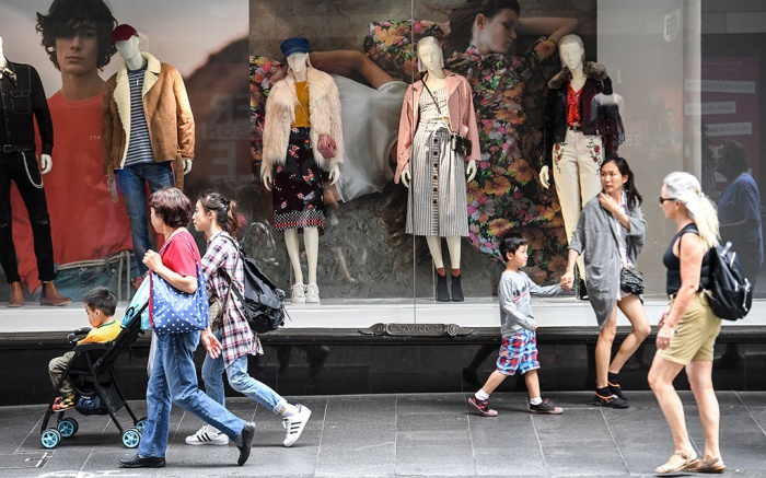 Retail shoppers are seen in Sydney, New South Wales, Australia, 04 April 2018. Australian retail turnover rose 0.6 percent in February 2018, seasonally adjusted, according to the latest Australian Bureau of Statistics (ABS) Retail Trade figures.Australian retail turnover rose 0.6 percent in February 2018, Sydney, Australia - 04 Apr 2018