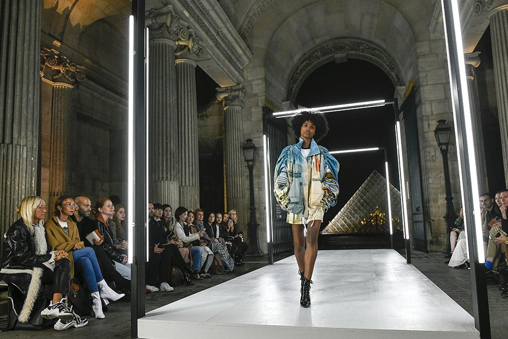 Model on the catwalk Louis Vuitton show, Runway, Spring Summer 2019, Paris Fashion Week, France - 02 Oct 2018