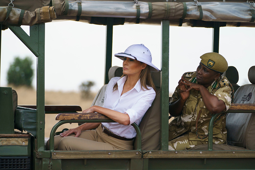Melania Trump, Nelly Palmeris. First lady Melania Trump looks out over Nairobi National Park in Nairobi, Kenya, during a safari guided by Nelly Palmeris. Melania Trump has fed baby elephants as she visits a national park in Kenya to highlight conservation efforts. The U.S. first lady also went on a quick safari. Mrs. Trump is on her first-ever visit to Africa and her first extended solo international trip as first ladyMelania Trump Africa, Nairobi, Kenya - 05 Oct 2018