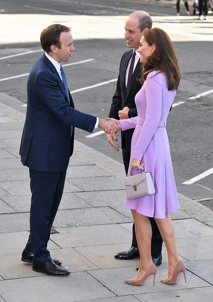 Prince William and Catherine Duchess of Cambridge are greeted by Matt HancockGlobal Ministerial Mental Health Summit, County Hall, London, UK - 09 Oct 2018The Duke and Duchess of Cambridge attended the first Global Ministerial Mental Health Summit on Tuesday 9th October. The summit is being co-hosted by the UK Government and the OECD. The Mental Health Summit will see political figures, leading academics and policy-makers from around the world come together with one common goal: better mental health for all. The meeting will help countries work together to deal with stigma attached to mental health and address other issues to do with mental ill-health