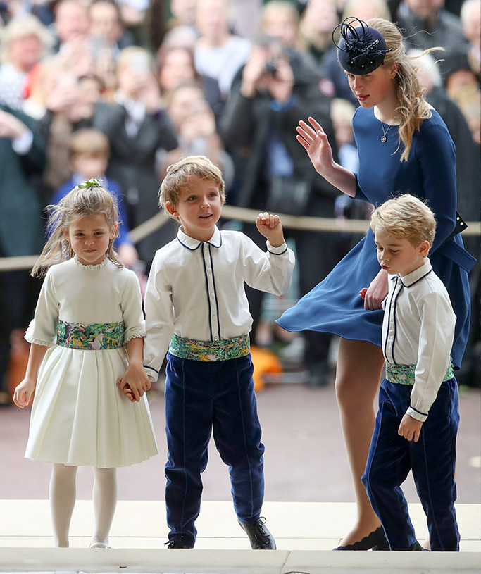 Lady Louise Windsor escorts the bridesmaids and page boys, including Prince GeorgeThe wedding of Princess Eugenie and Jack Brooksbank, Pre-Ceremony, Windsor, Berkshire, UK - 12 Oct 2018
