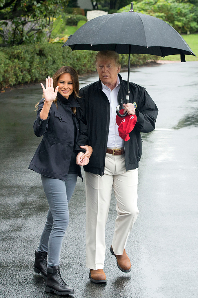 First Lady Melania Trump (L) waves beside US President Donald J. Trump (R) on the South Lawn of the White House before departing by Marine One, in Washington, DC, USA, 15 October 2018. Trump travels to the Florida Pandhandle and Georgia to view damage from Hurricane Michael. Before departing, Trump said he had spoken to the Saudi King Salman, regarding missing Washington Post contributor Jamal Khashoggi, and that US Secretary of State Mike Pompeo will meet with the Saudi King.US President Donald J. Trump and First Lady Melania Trump depart the White House, Washington, USA - 15 Oct 2018