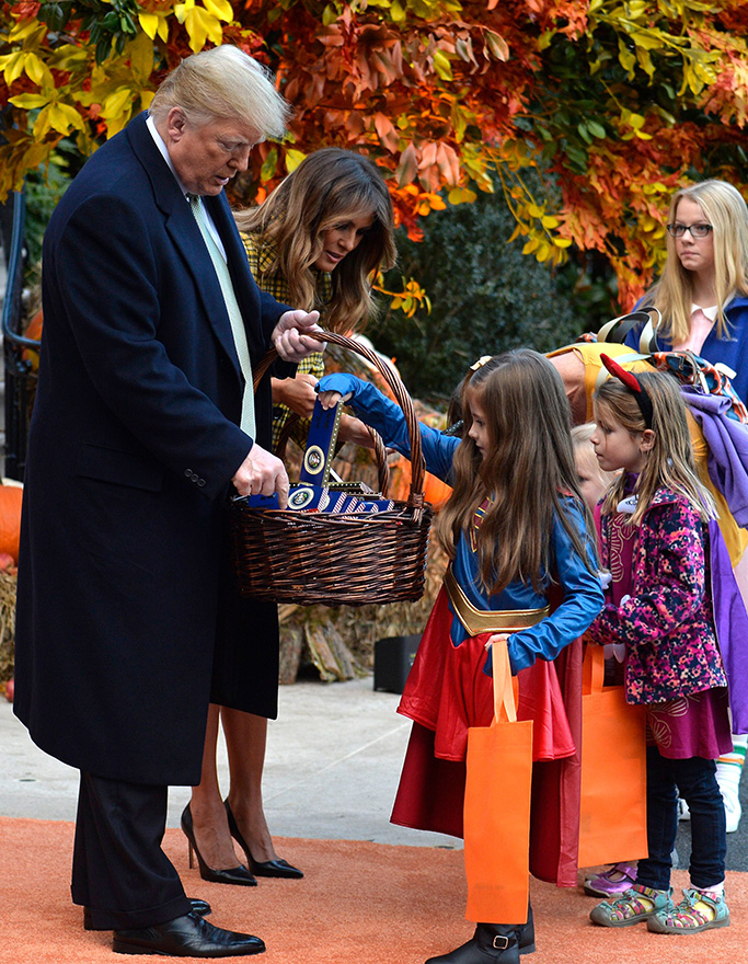 United States President Donald J. Trump and First Lady Melania Trump welcome trick or treaters to the White House for Halloween festivities,, in Washington, DC.Donald Trump and Melania Trump welcome children for Halloween at the White House, London, UK - 28 Oct 2018