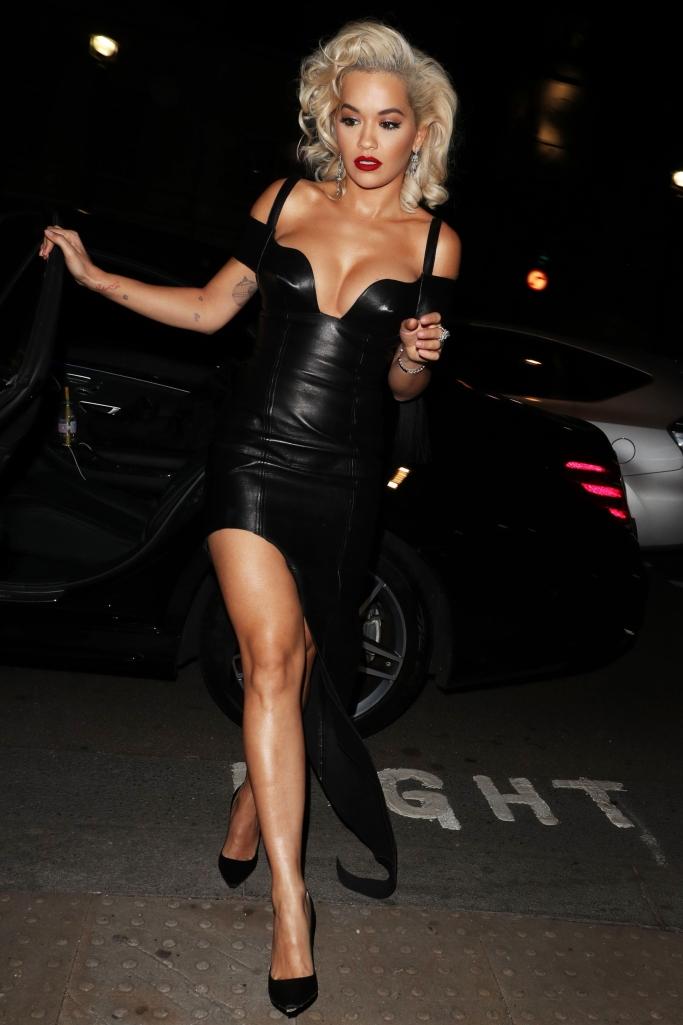 rita ora, leather dress, black pumps, marilyn monroe, unicef halloween ball 2018