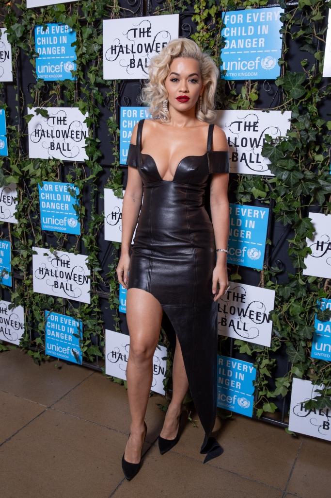 rita ora, Unicef Halloween Ball, leather dress, black pumps, marilyn monroe