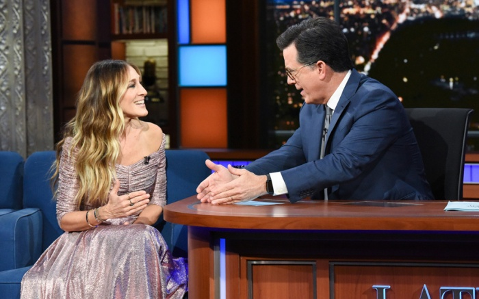 The Late Show with Stephen Colbert and guest Sarah Jessica Parker during Tuesday's October 30, 2018 show. Photo: Scott Kowalchyk/CBS ©2018 CBS Broadcasting Inc. All Rights Reserved.