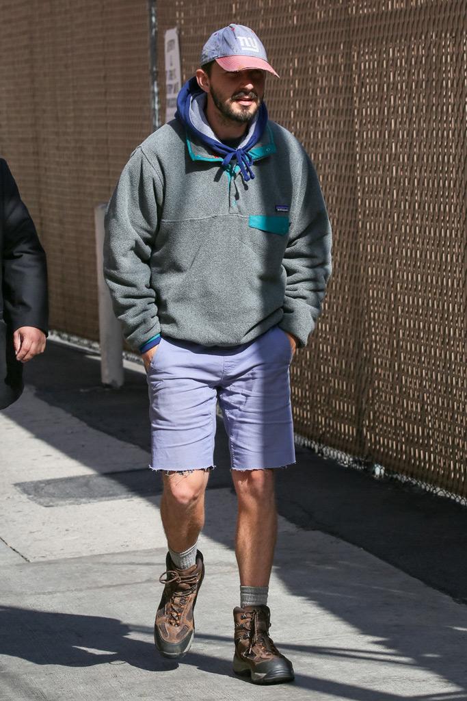 Shia LaBeouf, New York Giants, hoodie, patagonia, dad hat, hiking boots