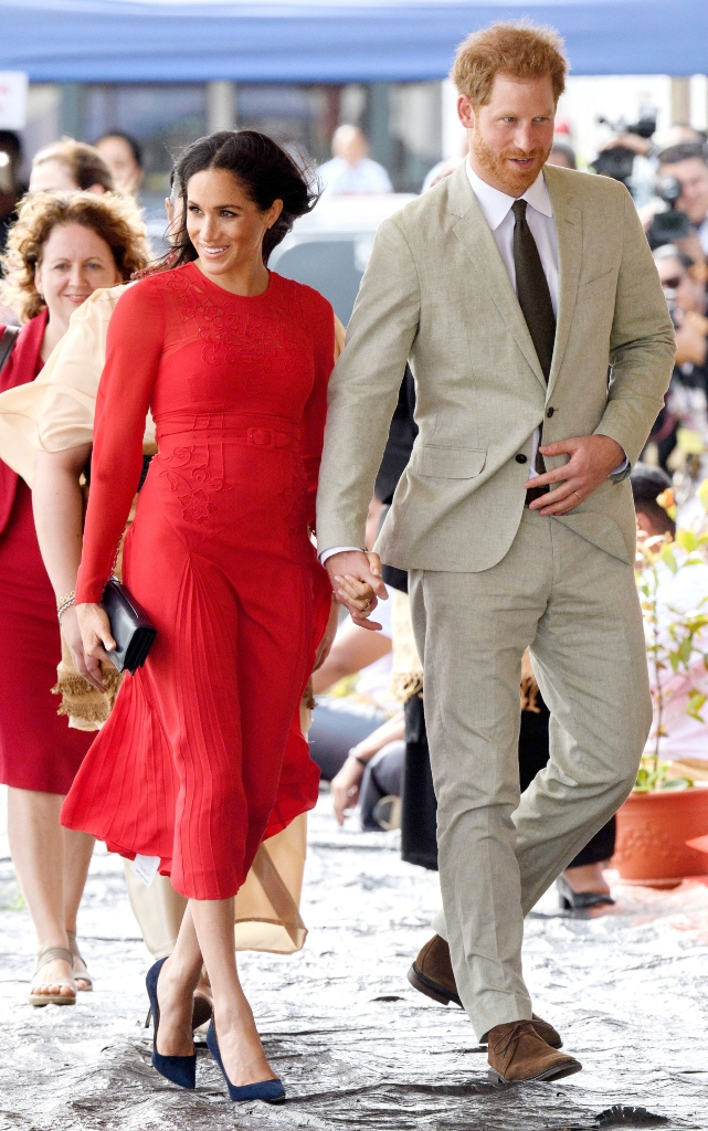 red self-portrait dress, manolo blahnik bb pumps, Meghan Duchess of Sussex arrives at Fua'amotu Airport in TongaPrince Harry and Meghan Duchess of Sussex tour of Tonga - 25 Oct 2018