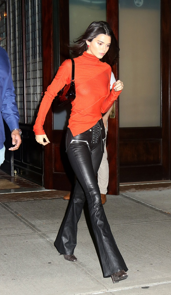 kendall jenner, leather pants, orange shirt, celebrity style, square toes, python print, snakeprint, shoe trends, Model Kendall Jenner wears a sheer orange sweater as she leaves a downtown hotel in New York, NY.Pictured: Kendall JennerRef: SPL5031902 091018 NON-EXCLUSIVEPicture by: SplashNews.comSplash News and PicturesLos Angeles: 310-821-2666New York: 212-619-2666London: 0207 644 7656Milan: +39 02 4399 8577Sydney: +61 02 9240 7700photodesk@splashnews.comWorld Rights, No France Rights