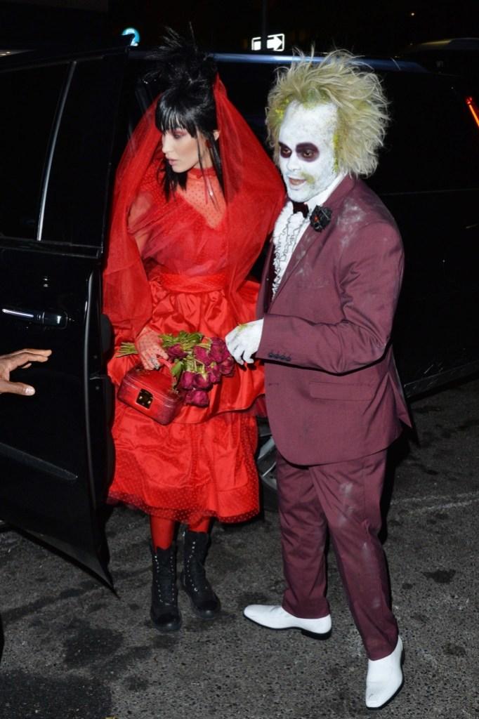 the weeknd, bella hadid, halloween, beetlejuice, couple's costume, celebrity style