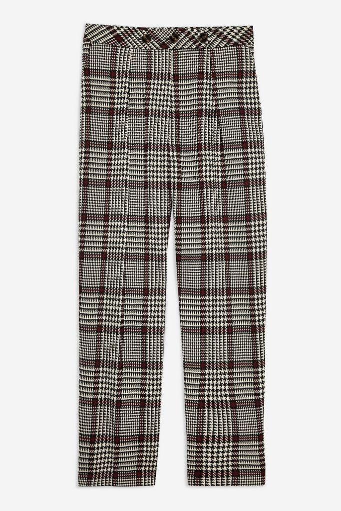 topshop check trousers fall 2018 how to wear non-black boots