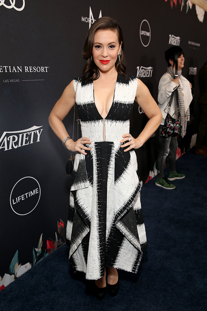 Alyssa Milano attends Variety's Power of Women presented by Lifetime at The Beverly Wilshire on October 12, 2018 in Beverly Hills.Variety's Power of Women Presented by Lifetime, Arrivals, Los Angeles, USA - 12 Oct 2018