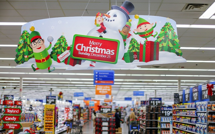 A Christmas Shopping Reminder at a Walmart Store in Marietta Georgia Usa 22 November 2016 Walmart One of the World's Largest Retailers is Gearing Up For a Busy Black Friday and Holiday Shopping Season Black Friday is an Annual Shopping Event Held the Day After Thanksgiving United States MariettaUsa Walmart Black Friday - Nov 2016