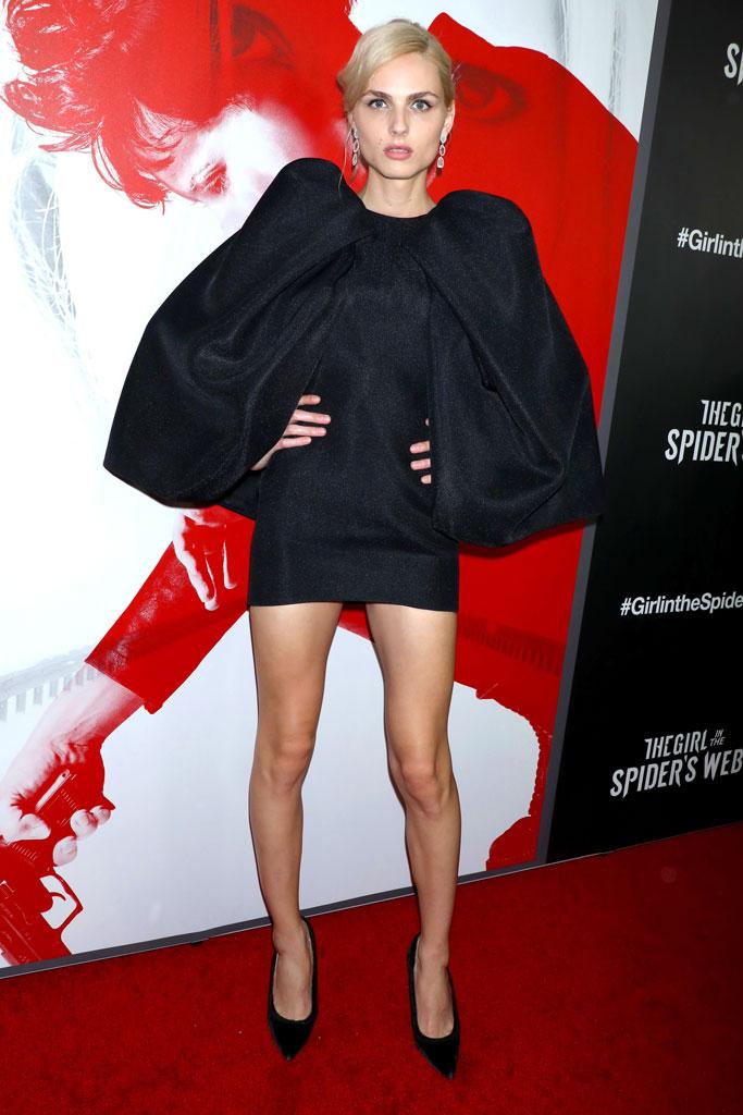 Andreja Pejic, The Girl in the Spider Web, minidress, red carpet, new york, screening