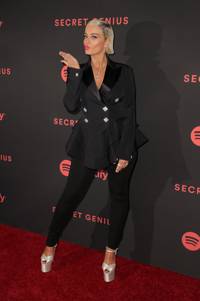 Bebe Rexha, red carpet, alessandra rich, celebrity style, menswear