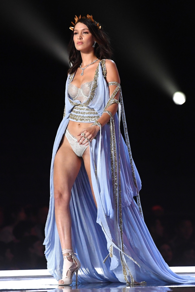 Bella Hadid on the catwalk at the Victoria's Secret Fashion Show