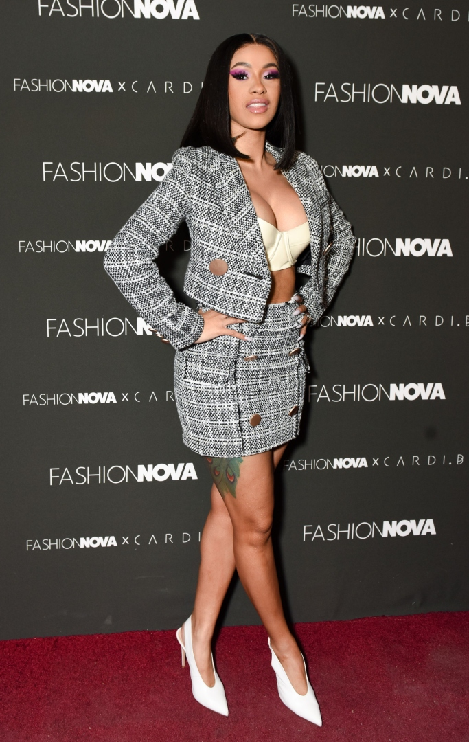 cardi b, fashion nova, white heels