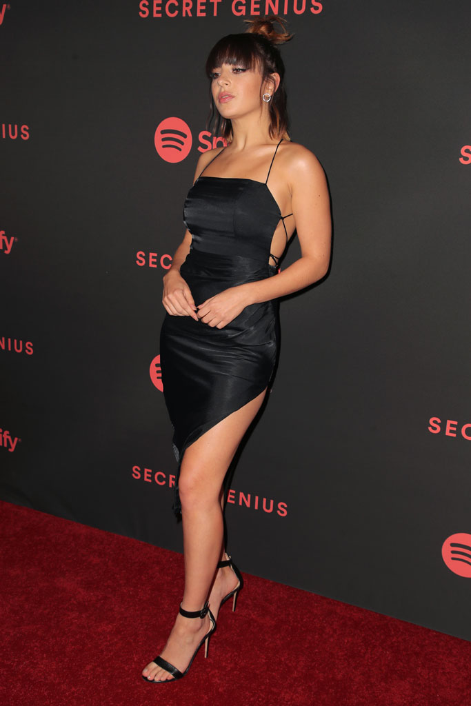 Charli XCX, red carpet, minidress, legs, strappy sandals, celebrity style