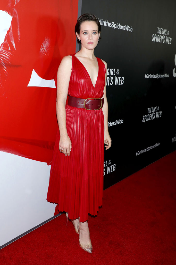 Claire Foy, red carpet, nyc, The Girl in the Spider Web', valentino, red dress, christian louboutin, pumps,