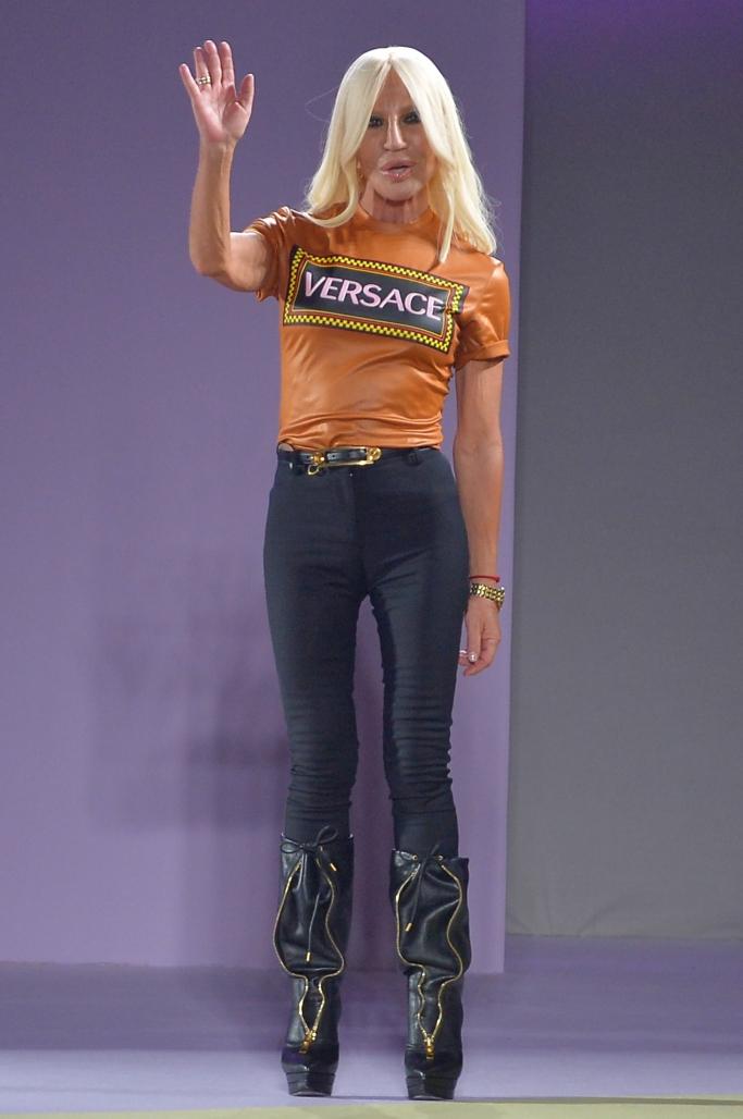 Donatella Versace on the catwalk during Milan Fashion Week