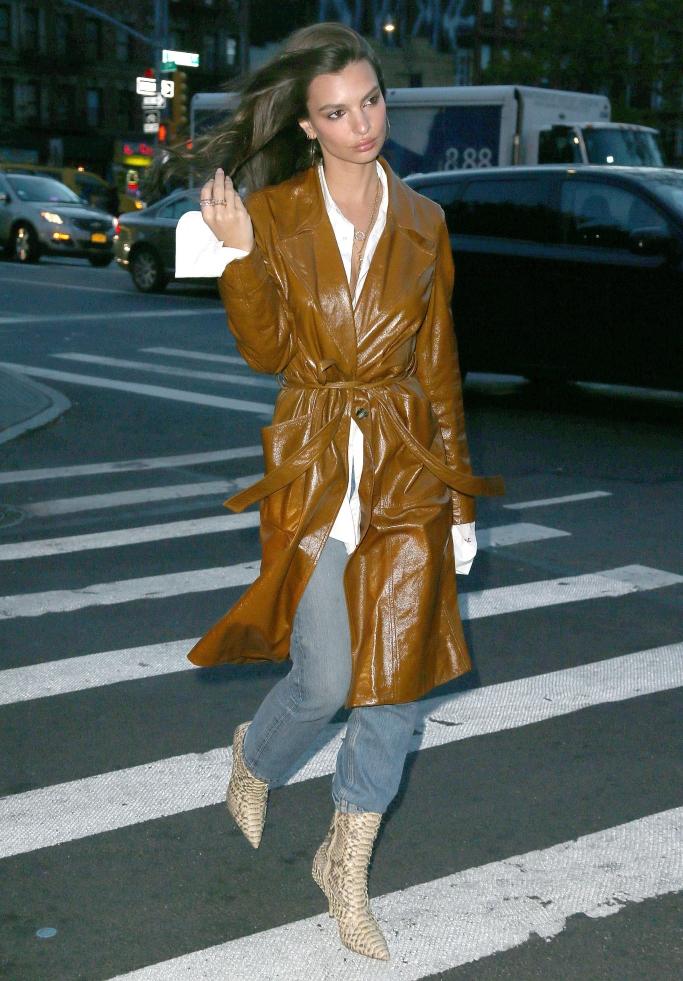 Emily Ratajkowski wearing Yeezy Season 7 python boots