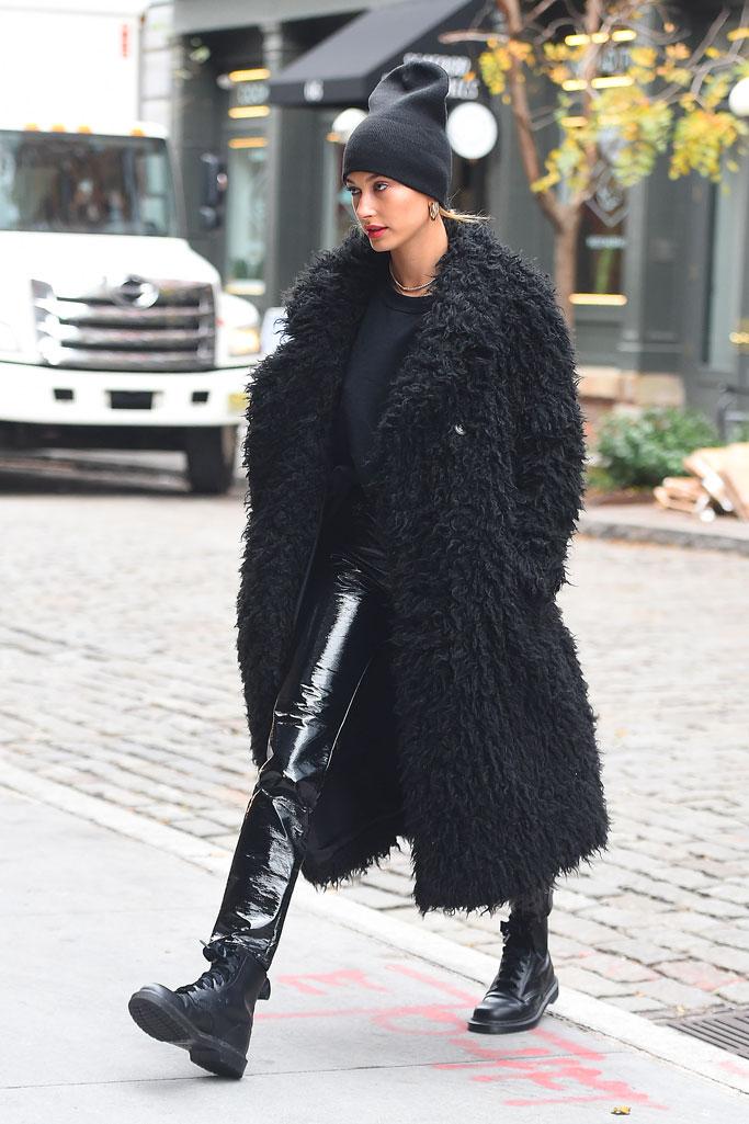 Hailey Baldwin, new york, teddy coat, shiny pants, combat boots, street style, celebrity style