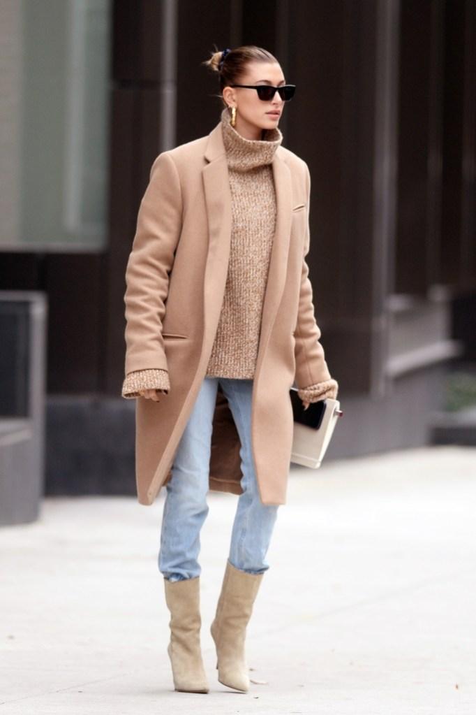 hailey baldwin, celine coat, street style