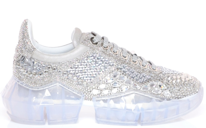 Jimmy Choo Crystal Shimmer Suede Low Top Trainers with Crystal Details