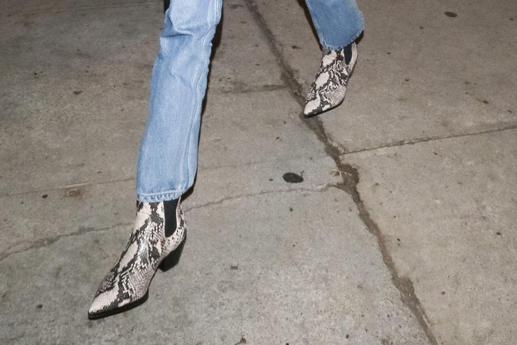 kaia gerber, snakeskin booties