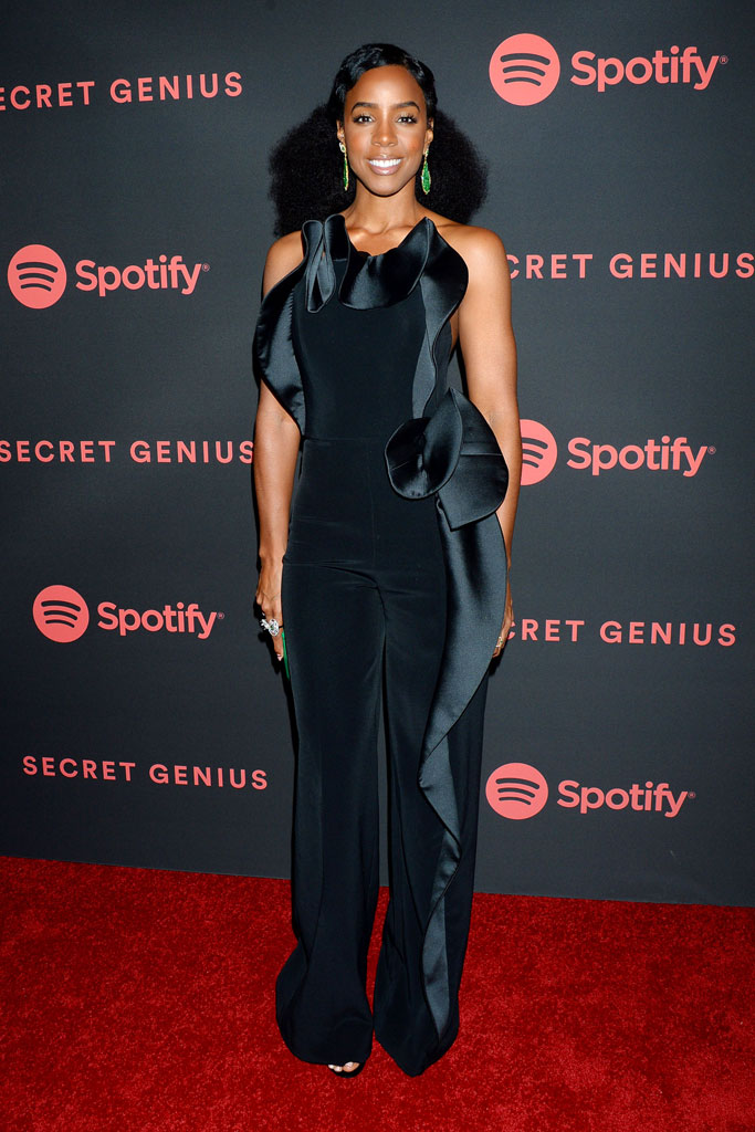 Kelly Rowland, red carpet, black jumpsuit, celebrity style, spotify secret genius awards