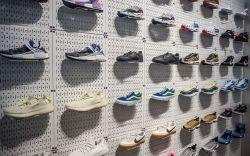 Sneaker wall at Stadium Goods store