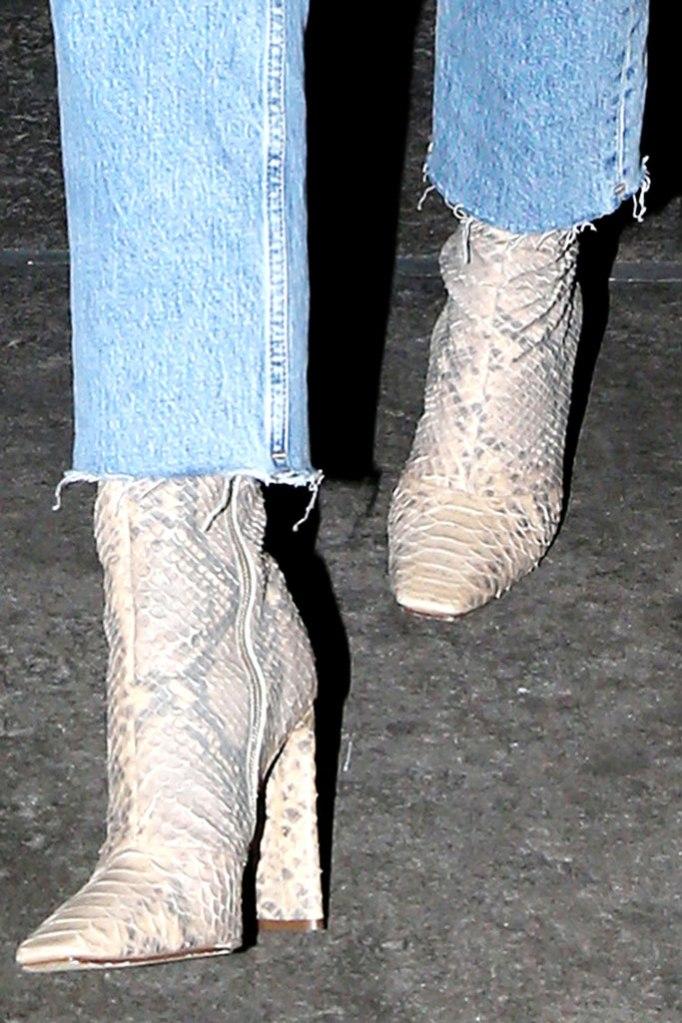Kylie Jenner, new york, denim, jumpsuit, yeezy, snakeskin, boots