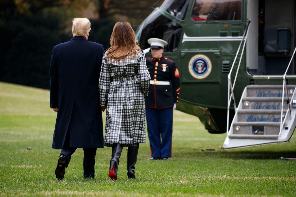 melania trump, donald trump, louboutin boots, paris
