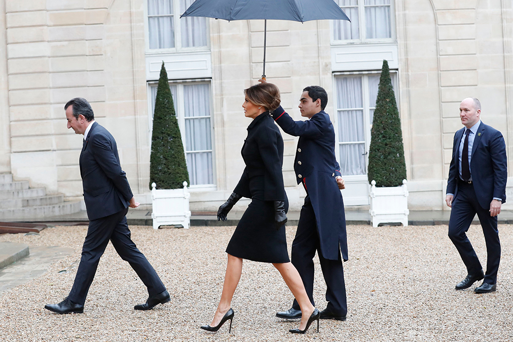 U.S first lady Melania Trump arrives at the Elysee Palace in Paris, Saturday, Nov.10, 2018. U.S President Donald Trump is joining other world leaders at centennial commemorations in Paris this weekend to mark the end of World War IWWI Centennial, Paris, France - 10 Nov 2018