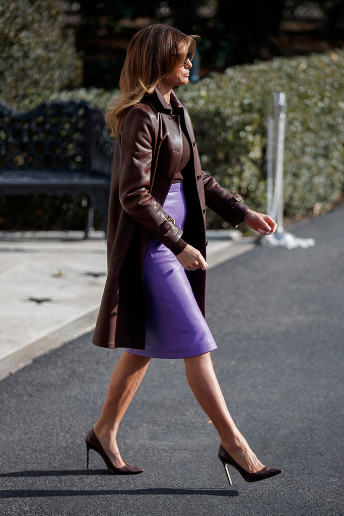 manolo blahnik bb pumps, US First Lady Melania Trump walks to meet US President Donald J. Trump to board Marine One on the South Lawn of the White House in Washington, DC, USA, 29 November 2018. President Trump is traveling to the G20 in Argentina where he is scheduled to meet with Russian President Vladimir Putin and Chinese President Xi Jinping.US President Donald J. Trump departs the White House for the G20 in Argentina, Washington, USA - 29 Nov 2018
