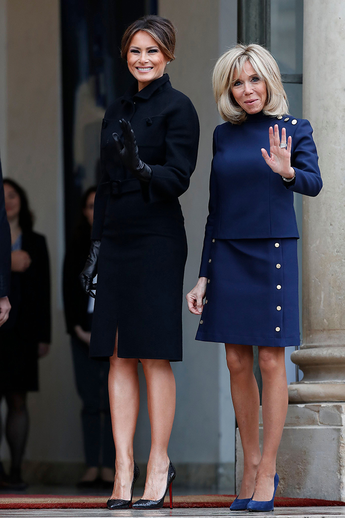 French First Lady Brigitte Macron (R) greets US First Lady Melania Trump (L) upon her arrival at the Elysee Palace in Paris, France, 10 November 2018. US President Trump along with other Heads of States and Governments will join on 11 November the commemoration ceremonies for their countries' fallen WW1 soldiers in France.Commemoration of the Centenary of the end of the First World War, Paris, France - 10 Nov 2018